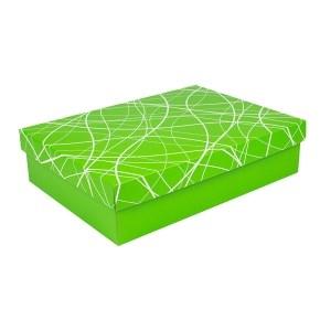 Dárková krabička s víkem 405x290x100/35 mm, zelená se vzorem na víku