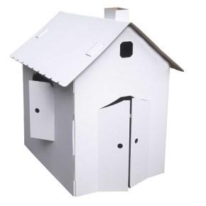 Kartonový domeček z pětivrstvé vlnité lepenky, 920x630x950 mm, bílý