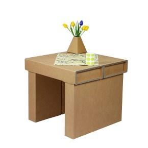 Kartonový konferenční stůl, 700x700x620 mm, hnědý