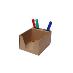 Kartonový stojan na tužky a blok 105x105x80 mm, hnědý kraft