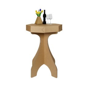 Kartonový stůl barový 1, 715x715x1070mm, hnědý