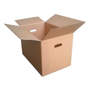 Klopová stěhovací krabice 585x385x300, s vyseknutými otvory pro ruce