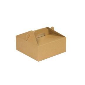 Krabice 140 x 140 x 70 na potraviny, výslužky, cukroví, hnědá - kraft
