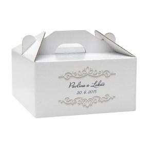 Krabice 140 x 140 x 70 na potraviny, výslužky, cukroví, tisk jména a datum svatby