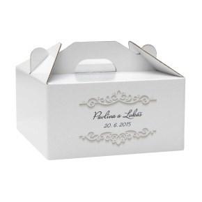 Krabice 160 x 160 x 80 na potraviny, výslužky, cukroví, tisk jména a datum svatby