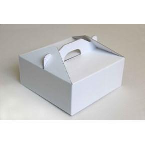 Krabice 190 x 190 x 80 na potraviny, výslužky, cukroví, bílo - bílá