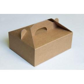 Krabice 190 x 190 x 80 na potraviny, výslužky, cukroví, hnědá - kraft