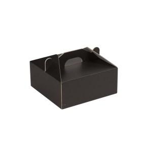 Krabice 190x190x80 mm na potraviny, výslužky, cukroví, černá