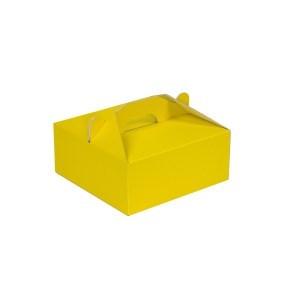 Krabice 190x190x80 mm na potraviny, výslužky, cukroví, žlutá