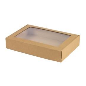 Krabice na cukroví s průhledným okénkem 320x220x60 mm, hnědá - kraft