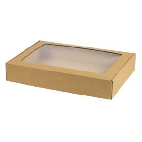 Krabice na cukroví s průhledným okénkem 400x280x70 mm, hnědá - kraft
