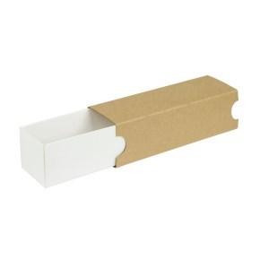 Krabička na makronky 180x50x50mm, bílé dno, hnědý návlek