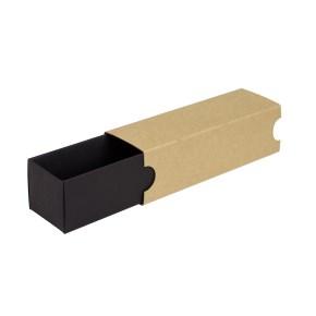Krabička na makronky 180x50x50mm, černé dno, hnědý návlek