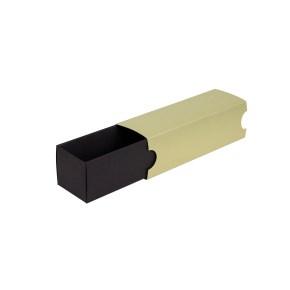 Krabička na makronky 180x50x50mm, černé dno, zlatý návlek