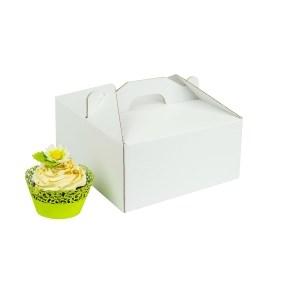 Odnosná krabička na 4 muffiny/cupcakes bílá s vložkou