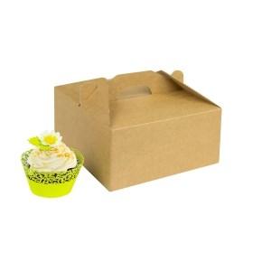 Odnosná krabička na 4 muffiny/cupcakes s vložkou, hnědá - kraft