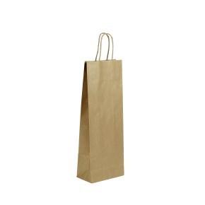 Papírová taška 140x80x390 mm na láhev-lesklá, kroucené papírové ucho