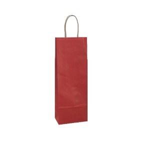 Papírová taška s krouceným uchem na víno 140x80x390 mm, červená