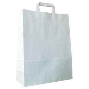 Papírová taška s plochým uchem 220x110x295 mm, bílá
