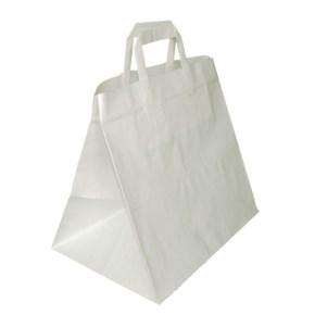 Papírová taška s plochým uchem 320x220x240 mm, bílá