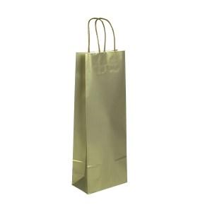 Papírová taška zlatá 150x80x400 mm na láhev