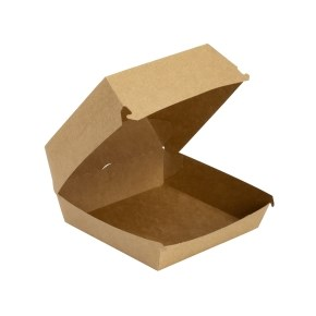 Papírový box na hamburger 120x120x70 mm, hnědý - kraft