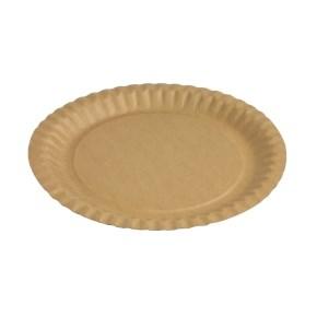 Papírový talíř kulatý 230 mm, hnědý - kraft