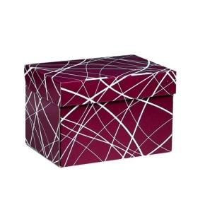 Úložná krabice 205x150x140 mm, vínová se vzorem matná