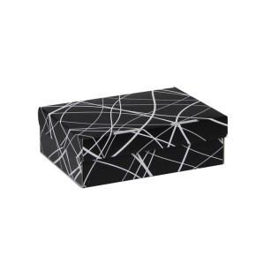Úložná krabice 205x150x65 mm, černošedá se vzorem