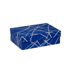 Úložná krabice 205x150x65 mm, modrá se vzorem