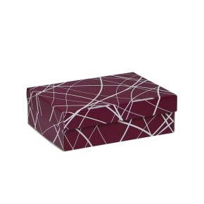 Úložná krabice 205x150x65 mm, vínová se vzorem matná