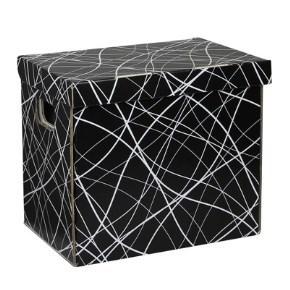 Úložná krabice 330x220x300 mm, černošedá se vzorem