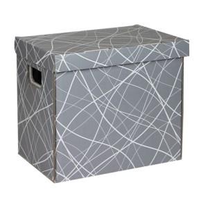 Úložná krabice 330x220x300 mm, šedá se vzorem