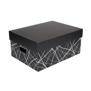 Úložná krabice komplet 430x300x200 mm, černo šedá, dno se vzorem