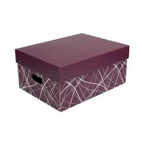 Úložná krabice komplet 430x300x200 mm, vínová, dno se vzorem