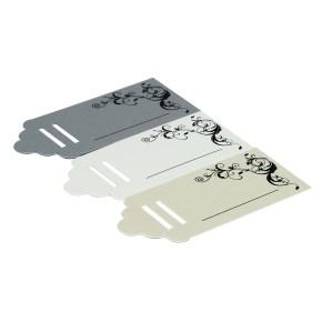 Visačky/jmenovky na dárky, tvar obdélník, stříbrná perleť