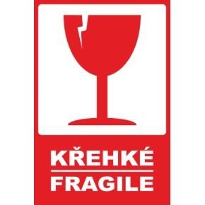 Výstražná papírová samolepicí etiketa KŘEHKÉ/FRAGILE 80x120, 500 ks