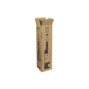 Zásilková krabice na 1 láhev vína 105x105x420 mm, hnědá