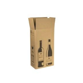 Zásilková krabice na 2 láhve vína 204x108x368 mm, hnědá